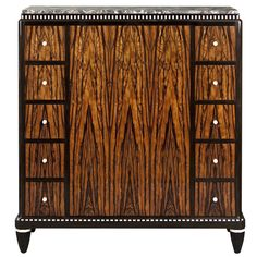 A Superb Macassar Cabinet by Leon Jallot with Breche Orientale de Baixas marble top and ivory/ebony inlay. Signed 'L. Jallot', France, Art Deco period, circa 1925.