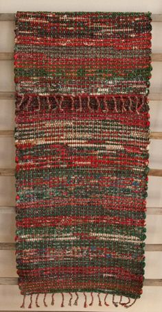 Hand Woven Red Green Patchwork Christmas Table Runner