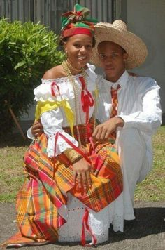 Couple from guadeloupe with traditional attire Caribbean Culture, Jamaica Culture, Trinidad Y Tobago, French Creole, Indian Customs, 12 Tribes Of Israel, Caribbean Carnival, Fabric Headbands, African Diaspora
