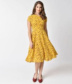 Unique Vintage 1940s Mustard Yellow & Red Floral Print Amelia Swing Dress