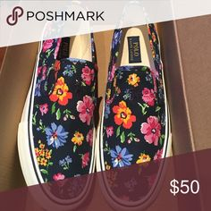 Polo Ralph Lauren floral canvas shoes A multi color polo shoe, brand new never worn Polo by Ralph Lauren Shoes Loafers & Slip-Ons