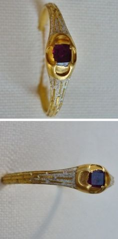 Gold ring, ruby, Europe, 15th century.
