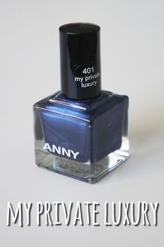 """Today I want to show you one of my favorite nail polish colors: """"my private luxury"""" by ANNY ( a perfect shimmery dark blue color. Luxury Nails, Dark Blue Color, Nail Polish Colors, Perfume Bottles, Glitter, Dark Blue Colour, Perfume Bottle, Sequins, Glow"""