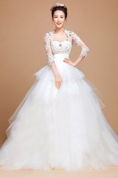 """Get 2 dresses for the price of 1 with this gorgeous new """"2 in 1"""" wedding gown. The large ballgown skirt is removable. Buy it now!"""