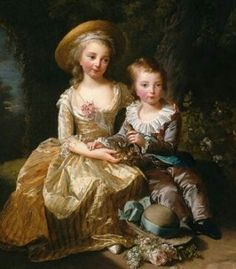 Princess Marie Thérèse of France and her younger brother Louis Joseph Xavier of France, Dauphin of France. Children of Marie Antoinette