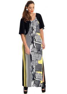 MAT Fashion Yoruba City Scape Black & Yellow Maxi Dress