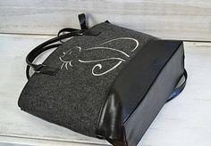FELT CAT BAG -Large  Handbag, Women Felt Bag - Felt Tote Bag - Felt Handbag Purse - Cats design - Gift For Cat Lovers - by BPStudioDesign on Etsy