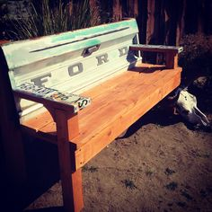 68 ford tailgate bench like the idea of license plates on arm rests