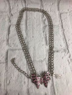 Pink Rhinestones Butterfly Silver Tone Chain Belt 10 Slim New | Clothing, Shoes & Accessories, Women's Accessories, Belts | eBay!