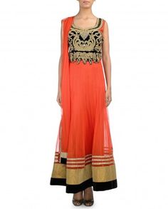 Orange Anarkali Suit with Embellished Yoke