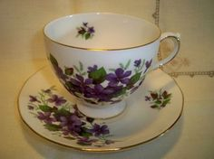Vintage Queen Anne Violets Floral Footed China Teacup and Saucer