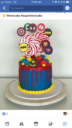 Real nerd parents wouldn& combine Marvel and DC Marvel Birthday Cake, Novelty Birthday Cakes, Avengers Birthday, Superhero Birthday Party, Cake Birthday, 5th Birthday, Birthday Ideas, Superman Cakes, Marvel Cake