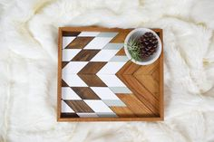 Wood Tray  Geometric Wood Wall Art  Wood by RoamingRootsWoodwork