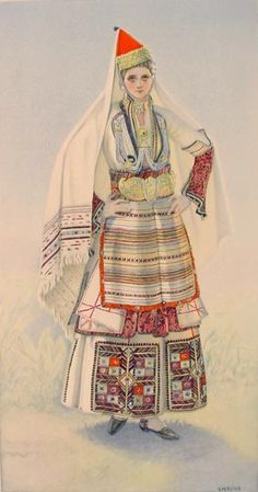 NICOLAS SPERLING Peasant Woman's Dress (Macedonia, Episkopi) 1930 lithograph on paper after original watercolour Greek Traditional Dress, Traditional Outfits, Costume Shop, Folk Costume, Ancient Greek Costumes, Greek Dancing, Costumes Around The World, Costume Collection, Greek Clothing