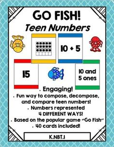 Go Fish is an engaging, high interest way for students to think about numbers. This resource uses multiple representations to get students composing and decomposing teen numbers. This edition includes 40 cards, with numbers 11 - 19 represented in 4 different ways!!