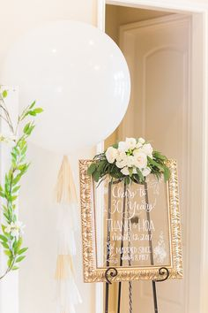 Glass framed party sign & balloon from an Elegant Spring Anniversary Party on Kara's Party Ideas | KarasPartyIdeas.com (23)