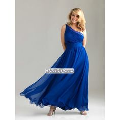 One shoulder ruched bodice beaded at strap chiffon plus size prom dress PD34558 at belloprom.com