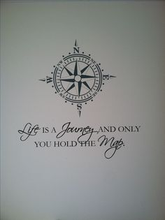 New wall decal with quote and compass. I'd consider the decal off center and part of it on the ceiling the rest on the wall