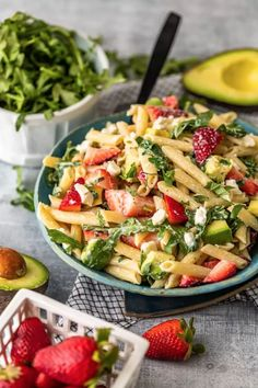 This penne pasta salad with feta, strawberries, avocado, poppy seed dressin Pasta Salad Ingredients, Easy Pasta Salad Recipe, Easy Salad Recipes, Pasta Recipes, Picnic Recipes, Picnic Foods, Side Recipes, Lunch Recipes, Summer Recipes