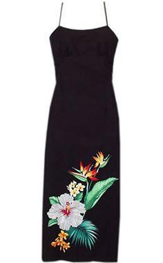 Long Hula Tropic Hawaiian Dress