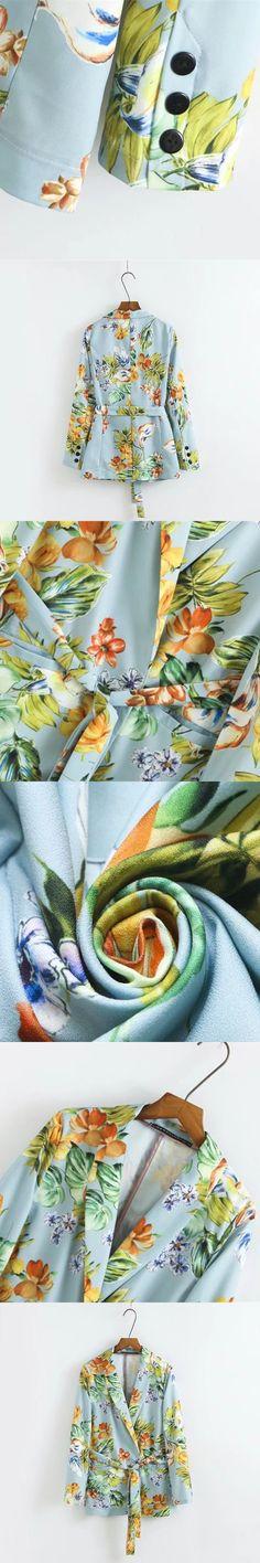 Fall Vintage Colorful Ethnic Floral Blazers Kimono Sashes Suit Slim Jacket Long Sleeve OL Fashion Women Cardigan Tops Outerwear