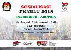 Diberitahukan kepada masyarakat Indonesia yang berdomisili di wilayah Innsbruck dan sekitarnya, diharapkan untuk dapat menghadiri sosialisasi PEMILU 2019 sebagai berikut. Terimakasih. #pplnwina #pemiluserentak2019 #sosialisasiPemilu2019 Innsbruck, Austria, Boarding Pass, Travel, Viajes, Destinations, Traveling, Trips