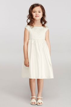Cap Sleeve Flower Girl Dress with Lace Appliques - Ivory, 5