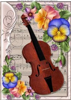 Beautiful Violin With Pansies A4 on Craftsuprint designed by Amy Perry - Beautiful Violin With Pansies A4 on lovely music sheet backing paper can also be seen in A5 - Now available for download!