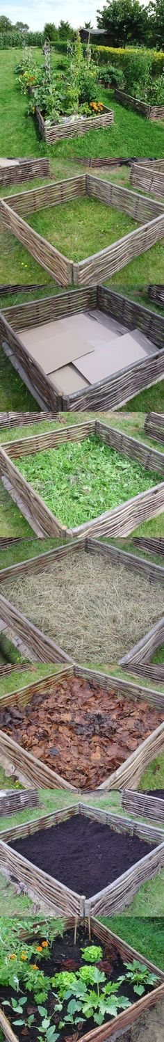 Lasagna Bed gardening - creates a great weed barrier and natural materials will compost over time to create nutrients for the plants - love the wattle fencing.