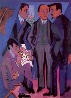 Ernst Ludwig Kirchner, Eine Künstlergemeinschaft, 1926. Four members of the group Die Brücke. From left to right: Otto Mueller, Kirchner, Erich Heckel and Karl Schmidt-Rottluff.