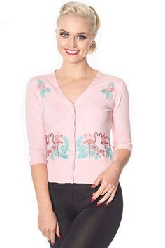 Hearts /& Roses ROSY V-Neck Roses Vintage 50s Cardigan STRICKJACKE Rockabilly