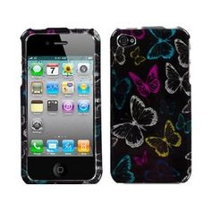 Butterflies Rainbow Black 2D Crystal Hard Case Cover for Apple iPhone 4 4S AT Verizon Sprint