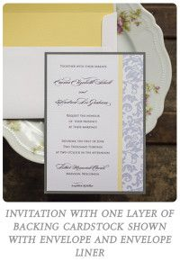 The Jennifer Design wedding invitation shown in yellow and grey from Invites by Jen.