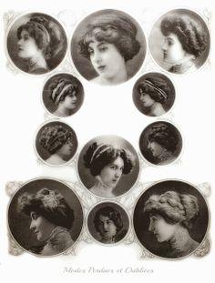 Diverses coiffures pour l'automne 1909, même les coiffures les plus simples nécessitaient une masse de cheveux imposante. Cette masse de cheveux pouvait être réalisées grace à des postiches de cheveux naturels. La plupart des coiffures présentées dans les médaillons ont été réalisées avec des treses de cheveux postiches. La Mode Pratique du 11 septembre 1909