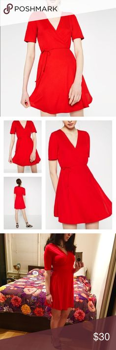 🍒🍒 Crossover Red Dress 🍒🍒 I love this dress with a messy bun and some heels can complement this red dress really well. I got 3 of these for gifts and kept one for myself and ended up not gifting the other two. Zara Dresses Mini