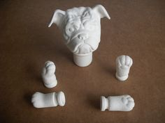 Bull dog doll parts doll head doll hands doll feet Ready to paint ceramic bisque u paint by MapleHillCeramics on Etsy