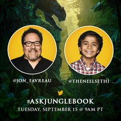 Tomorrow at 9am PT, The Jungle Book​'s Jon Favreau​ (Director) and Neel Sethi​ (Mowgli) will be answering your questions in a Twitter Q&A! Head over to Twitter and start submitting your questions now using #AskJungleBook!