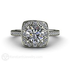 Vintage Moissanite Engagement Ring Diamond Halo – Rare Earth Jewelry