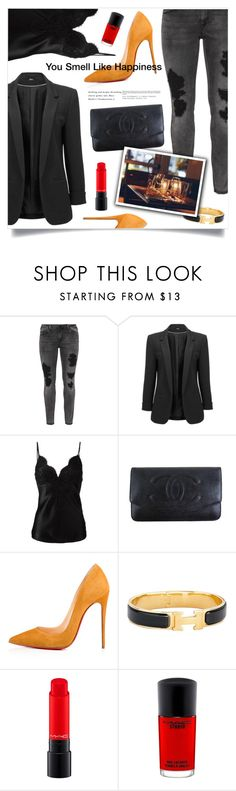 """Dinner Date"" by marina-volaric ❤ liked on Polyvore featuring Zizzi, Dondup, Chanel, Christian Louboutin, Hermès, Whit and MAC Cosmetics"