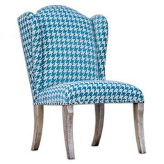 Uttermost 23618 Winesett Armless Bold Pattern Chair Pacific Blue and Ivory Furniture Seating Side Chairs