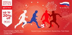 2018 World Cup Football Russia. Welcome to Russia, sale special offer advertising banner with sports, football symbols, soccer ball, award, world, fireworks red fesive background modern concept design template. Stock Vector - 94512584
