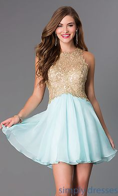 Short Sleeveless Blush Dress with Lace Bodice at SimplyDresses.com