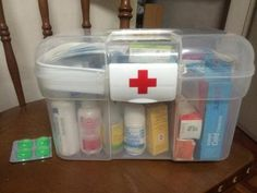Keeping all your medications and first aid supplies in a plastic tote with a handle makes the whole thing portable which can be very helpful {featured on Home Storage Solutions 101}