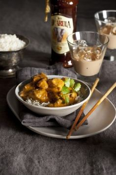 Thai Massaman curry, peanuts and Amarula cream with bottle (LR) South African Recipes, Asian Recipes, Ethnic Recipes, Thai Massaman Curry, Yum Yum Chicken, Savoury Dishes, Curry Recipes, Food Hacks, I Foods