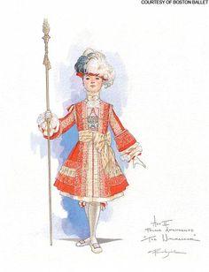 Page costume design from Boston Ballet's the Nutcracker Ballet Illustration, Magazine Illustration, Gothic Fashion, Fashion Art, Costume Design Sketch, Ballet Boys, Christmas In Paris, Arts Award, Ballet Costumes