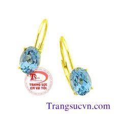 Hoa tai vàng Topaz xanh
