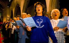 Instead of having more guest readers, we asked one friend to be a Song Leader: his job was to stand in front facing the congregation and sing out. We also posted the lyrics in the program, and we put the lyrics and youtube clips on our website in advance so that anyone who wanted to could practice. I was doubtful how well this would work, but several (older) people mentioned to us that they practiced ahead of time.