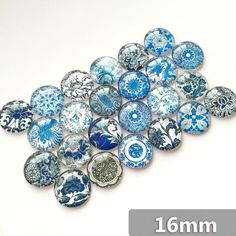 Round Glass Cabohcon 10-16mm Blue and White Porcelain Pictures Dome Embellishment Base Supplies for Jewelry Clasps Craft 50pcs