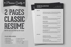 2 Page Resume format New Two Pages Classic Resume Cv Template Resume Templates On Creative Market Template Cv, Print Templates, Resume Templates, Design Templates, Letter Templates, Business Brochure, Business Card Logo, Effective Cover Letter, Job Resume