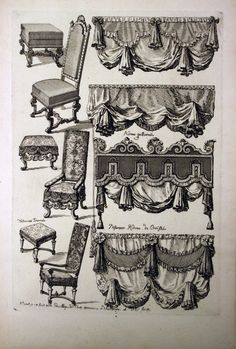 """Tombstone: Print, """"Upholstered Furniture"""", ca. Etching and black ink on white laid paper.Smithsonian, Cooper-Hewitt, National Design Museum (the drapery swags could be glued over blah curtains) Victorian Curtains, Victorian Windows, Victorian Homes, Drapes And Blinds, Drapes Curtains, Drapery, Valances, Window Coverings, Window Treatments"""